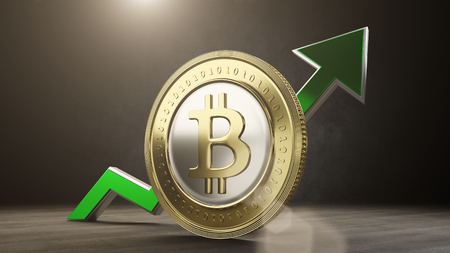 bitcoin value rising up. 3D render