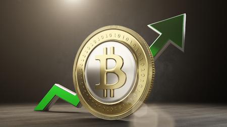 bitcoin-waarde stijgt op. 3D render
