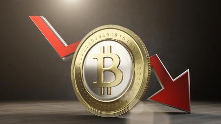 bitcoin value decreases. 3D render