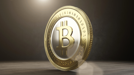 Single bitcoin coin close up . 3D render