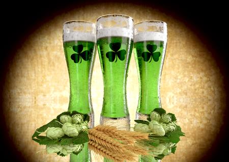 세인트 패 트 릭의 날 개념, 녹색 맥주, 기네스 -3D 렌더링