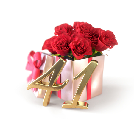 birthday concept with red roses in gift isolated on white background. forty-first. 41st. 3D render