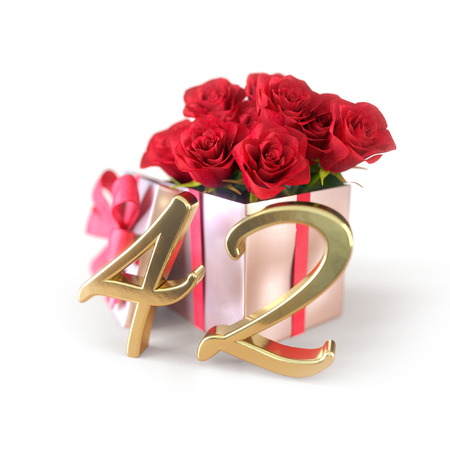 birthday concept with red roses in gift isolated on white background. forty-second. 42nd. 3D render 스톡 콘텐츠