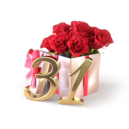 birthday concept with red roses in gift isolated on white background. thirty-first. 31st. 3D render