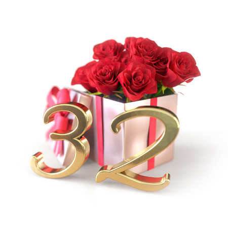 birthday concept with red roses in gift isolated on white background. thirty-second. 32nd. 3D render
