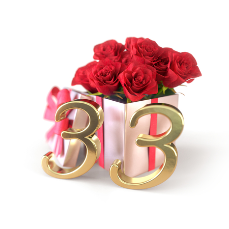 birthday concept with red roses in gift isolated on white background. thirty-third. 33rd. 3D render