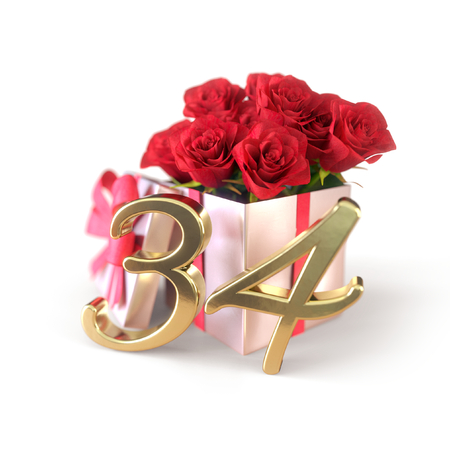 birthday concept with red roses in gift isolated on white background. thirty-fourth. 34th. 3D render