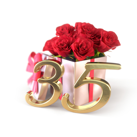 birthday concept with red roses in gift isolated on white background. thirty-fifth. 35th. 3D render