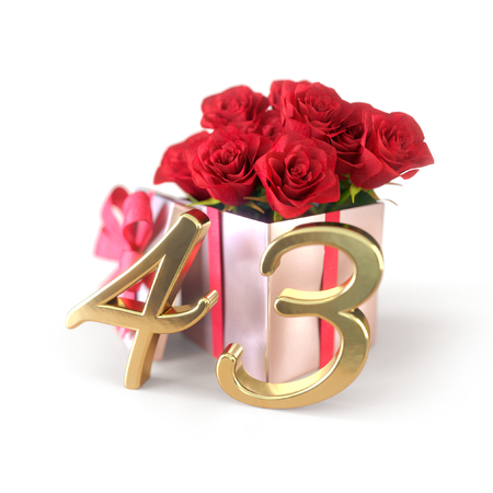birthday concept with red roses in gift isolated on white background. forty-third. 43rd. 3D render