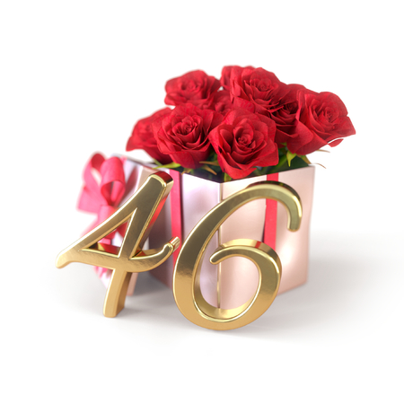 birthday concept with red roses in gift isolated on white background. forty-sixth. 46th. 3D render 스톡 콘텐츠