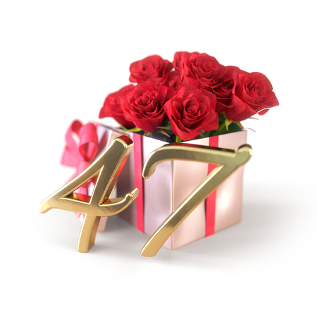 birthday concept with red roses in gift isolated on white background. forty-seventh. 47th. 3D render 스톡 콘텐츠