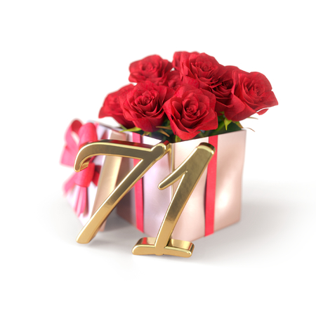 birthday concept with red roses in gift isolated on white background. 3D render - seventy-first birthday. 71st