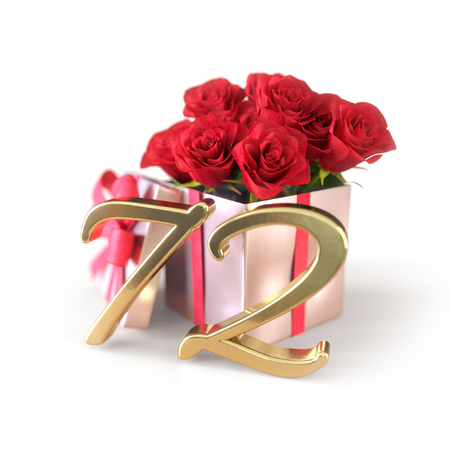 birthday concept with red roses in gift isolated on white background. 3D render - seventy-second birthday. 72nd