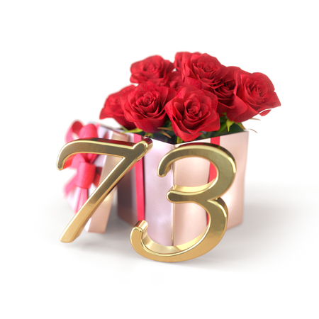 birthday concept with red roses in gift isolated on white background. 3D render - seventy-third. 73rd.