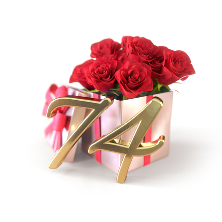 birthday concept with red roses in gift isolated on white background. 3D render - seventy-fourth. 74th.