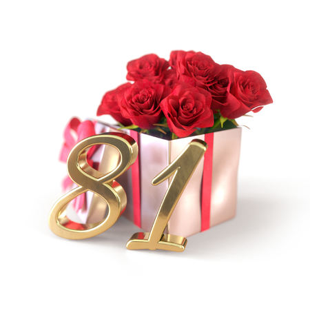 birthday concept with red roses in gift isolated on white background. eighty-first. 81st. 3D render