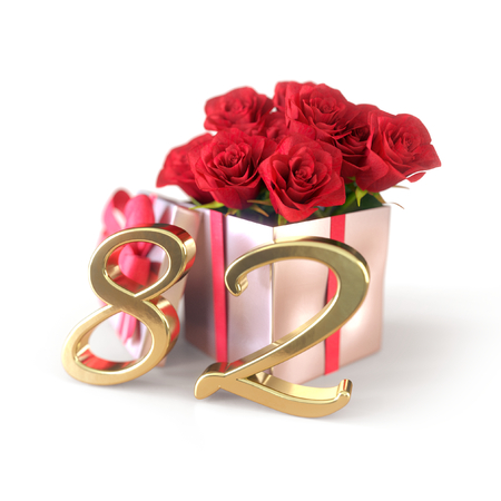 birthday concept with red roses in gift isolated on white background. eighty-second. 82nd. 3D render 스톡 콘텐츠