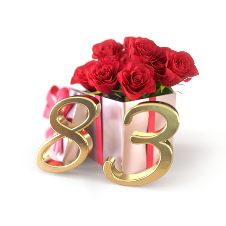 birthday concept with red roses in gift isolated on white background. eighty-third. 83rd. 3D render