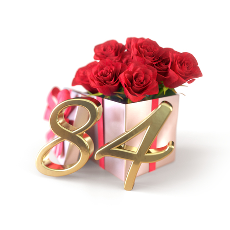 birthday concept with red roses in gift isolated on white background. eighty-fourth. 84th. 3D render 스톡 콘텐츠