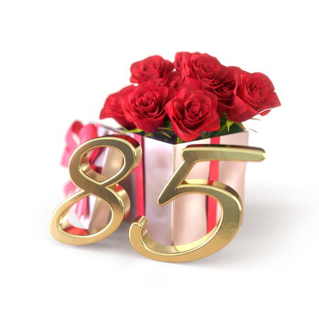 birthday concept with red roses in gift isolated on white background. eightyfifth. 85th. 3D render 스톡 콘텐츠