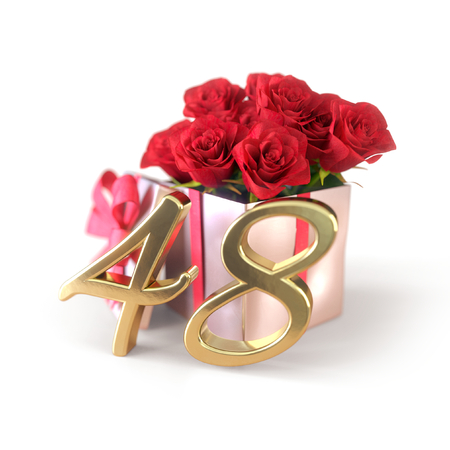 birthday concept with red roses in gift isolated on white background. forty-eighth. 48th. 3D render 스톡 콘텐츠