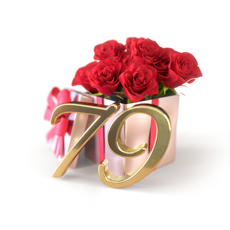 birthday concept with red roses in gift isolated on white background. seventy-nineth. 79th. 3D render