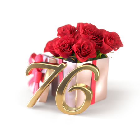 birthday concept with red roses in gift isolated on white background. seventy-sixth. 76th. 3D render