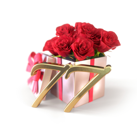 birthday concept with red roses in gift isolated on white background. seventy-seventh. 77th. 3D render