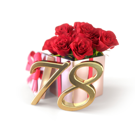 birthday concept with red roses in gift isolated on white background. seventy-eighth. 78th. 3D render