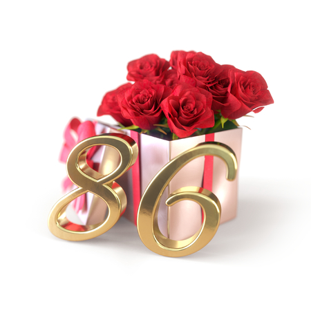 birthday concept with red roses in gift isolated on white background. eighty-sixth. 86th. 3D render 스톡 콘텐츠