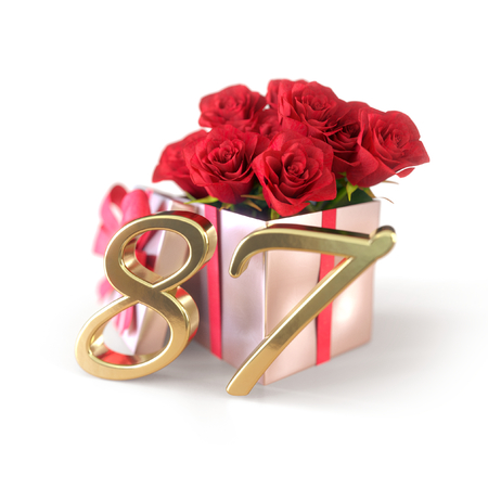 birthday concept with red roses in gift isolated on white background. eighty-seventh. 87th. 3D render 스톡 콘텐츠
