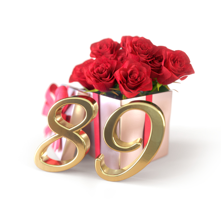 birthday concept with red roses in gift isolated on white background. eighty-nineth. 89th. 3D render 스톡 콘텐츠