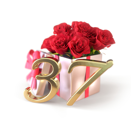 birthday concept with red roses in gift isolated on white background. thirty-seventh. 37th. 3D render