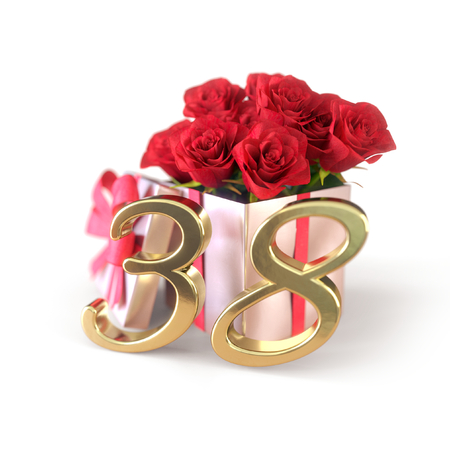 birthday concept with red roses in gift isolated on white background. thirty-eighth. 38th. 3D render