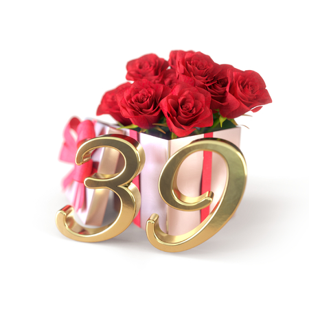 birthday concept with red roses in gift isolated on white background. thirty-nineth. 39th. 3D render