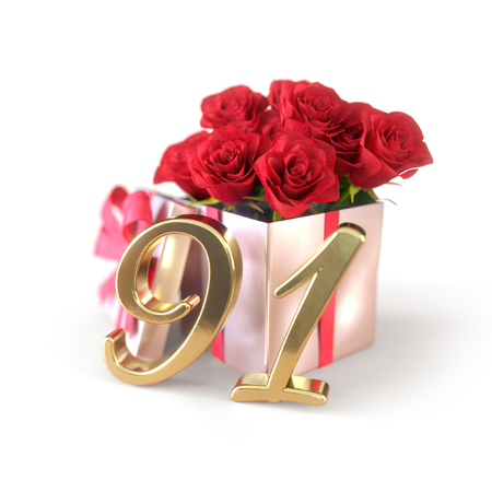 birthday concept with red roses in gift isolated on white background. ninety-first. 91st. 3D render 스톡 콘텐츠