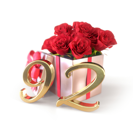 birthday concept with red roses in gift isolated on white background. ninety-second. 92nd. 3D render