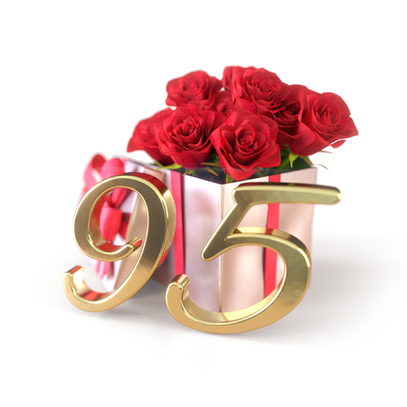 birthday concept with red roses in gift isolated on white background. ninetyfifth. 95th. 3D render