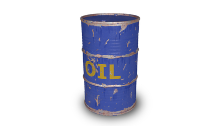 blue oil barrel isolated on white