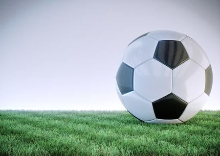 glossy soccer ball on grass field - 3D 스톡 콘텐츠