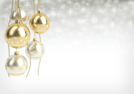 golden and silver christmas balls hanging on bokeh background. 3D render