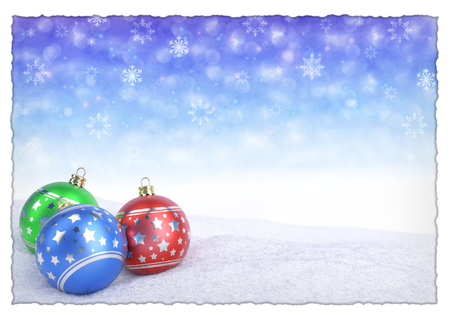 colorful christmas balls on snow with bokeh background. 3D render 스톡 콘텐츠