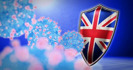 fight of the United Kingdom with coronavirus - 3D render