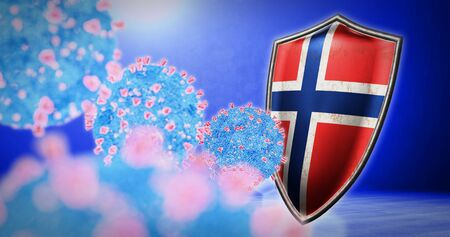 fight of the Norway with coronavirus - 3D render