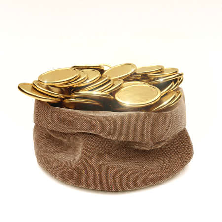 Sack of coins isolated on white - 3D render