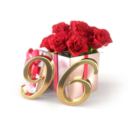 birthday concept with red roses in gift isolated on white background. ninety-sixth. 96th. 3D render 스톡 콘텐츠