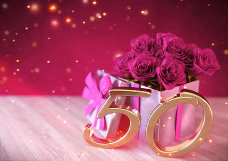birthday concept with pink roses in gift on wooden desk. fiftieth birthday. 50th. 3D render 스톡 콘텐츠