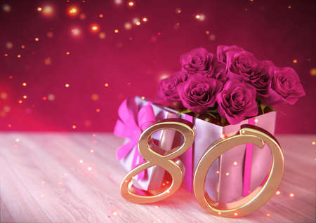 birthday concept with pink roses in the gift on wooden desk. eightieth. 80th. 3D render