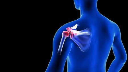 Shoulders Pain close-up illustration - back view. Blue Human Anatomy Body 3D Scan render on black background