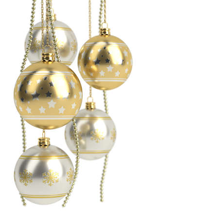 golden christmas bulbs isolated on white background. 3D render 스톡 콘텐츠